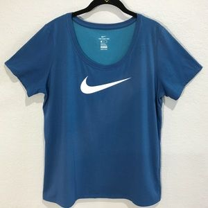 Nike The Nike Tee DRI FIT blue with Large logo